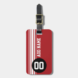 Vintage Racing Stripes - Red and Black Luggage Tag