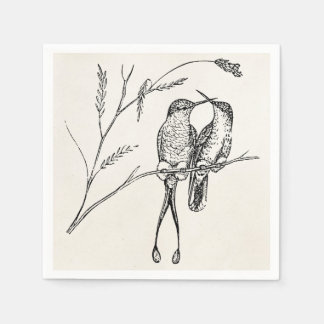 Vintage Racquet Tail Hummingbird Personalized Bird Paper Napkins