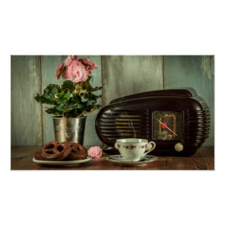 Vintage Radio China Set Flowers and Pretzel Poster