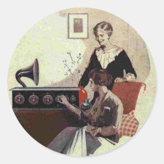 vintage radio paint 1900s classic round sticker