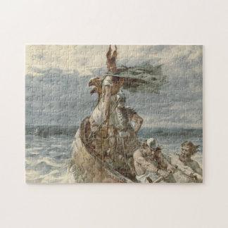 Vintage Raiding Vikings Painting (1873) Jigsaw Puzzle