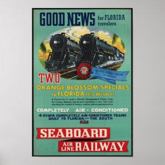 Vintage Rail Travel to Florida Poster