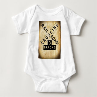 Vintage Railroad Crossing Crossbuck Baby Bodysuit