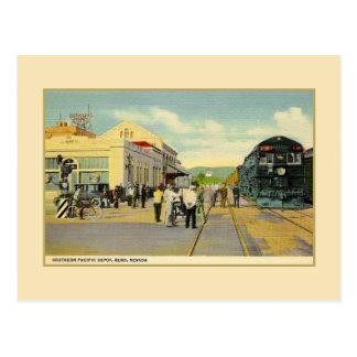 Vintage railroad depot and train Reno Nevada Postcard