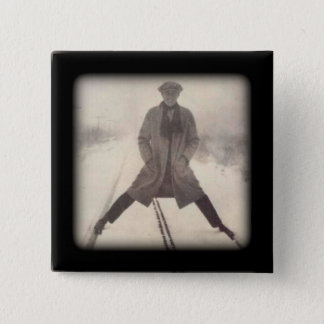 Vintage Railroad Photo c 1920s 2 Inch Square Button