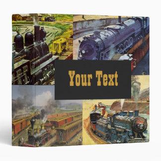Vintage Railroad Trains Vinyl Binder