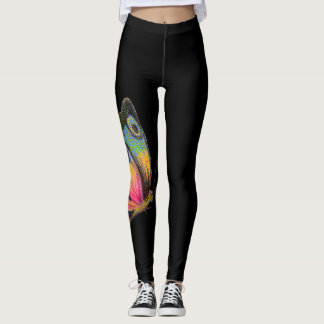 Vintage rainbow butterfly papillon boho chic black leggings