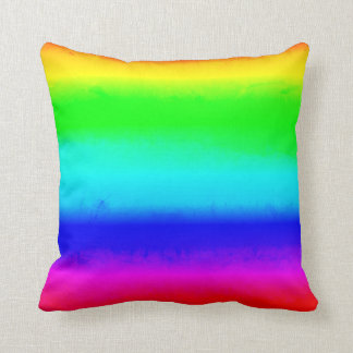Vintage Rainbow Ombre Throw Pillow