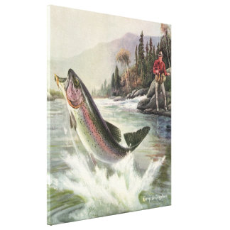 Vintage Rainbow Trout Fish, Fisherman Fishing Canvas Print