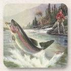 Vintage Rainbow Trout Fish, Fisherman Fishing Coaster
