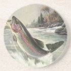 Vintage Rainbow Trout Fish, Fisherman Fishing Coaster