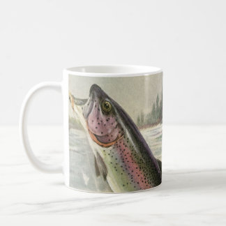 Vintage Rainbow Trout Fish, Fisherman Fishing Coffee Mug