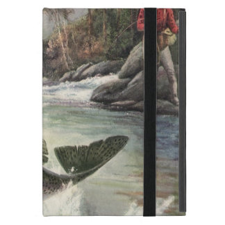 Vintage Rainbow Trout Fish, Fisherman Fishing Cover For iPad Mini