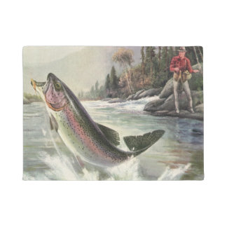 Vintage Rainbow Trout Fish, Fisherman Fishing Doormat
