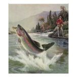 Vintage Rainbow Trout Fish, Fisherman Fishing Poster