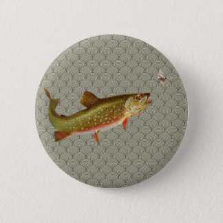 Vintage rainbow trout fly fishing 2 inch round button