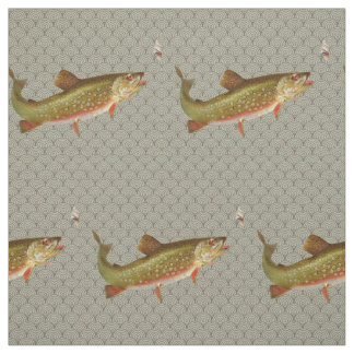 Vintage rainbow trout fly fishing fabric