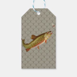 Vintage rainbow trout fly fishing pack of gift tags