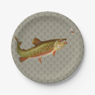 Vintage rainbow trout fly fishing paper plate