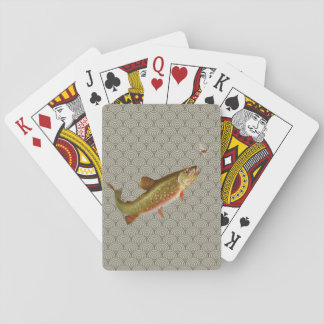 Vintage rainbow trout fly fishing playing cards