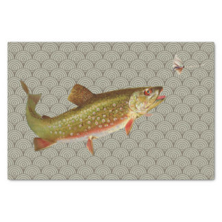 Vintage rainbow trout fly fishing tissue paper