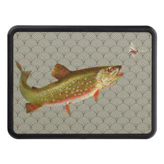 Vintage rainbow trout fly fishing trailer hitch cover