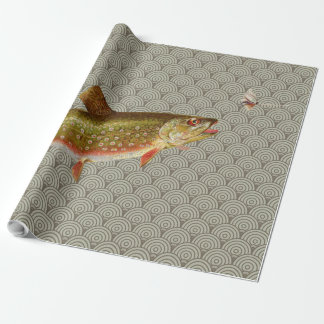 Vintage rainbow trout fly fishing wrapping paper