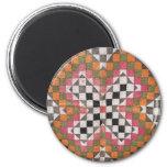 Vintage Ralli Quilt Orange 2 Inch Round Magnet