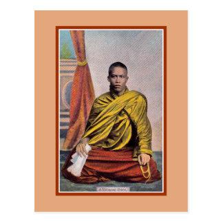 Vintage Rangoon Burmese priest Postcard