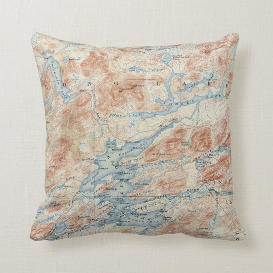 Vintage Raquette Lake New York Topographical Map Throw Pillow