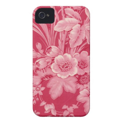 Vintage Raspberry Red Floral iPhone 4 Case-Mate Cases