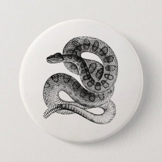 Vintage Rattlesnake Reptile Snake Template 3 Inch Round Button
