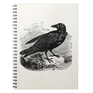 Vintage Raven Black Bird Crow Personalized Birds Spiral Notebook