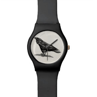 Vintage Raven Crow Blackbird Bird Illustration Wristwatch