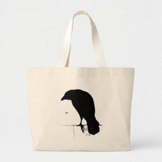 Vintage Raven - Customized Goth Crows Ravens Large Tote Bag