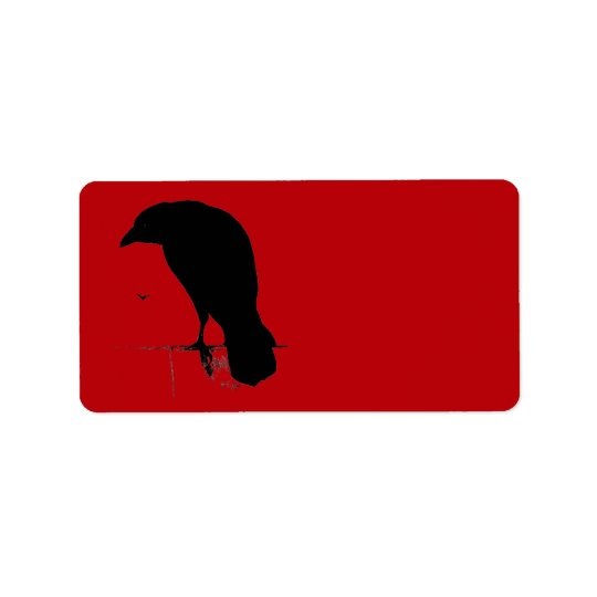 Vintage Raven on Blood Red Template Label