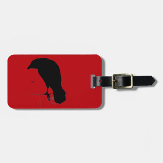 Vintage Raven on Blood Red Template Luggage Tag