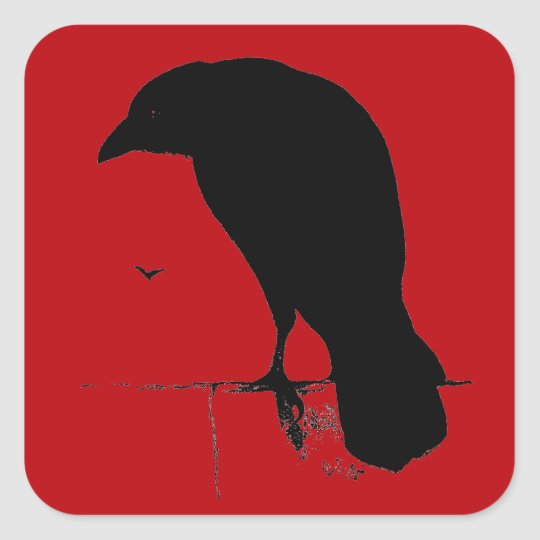 Vintage Raven on Blood Red Template Square Sticker