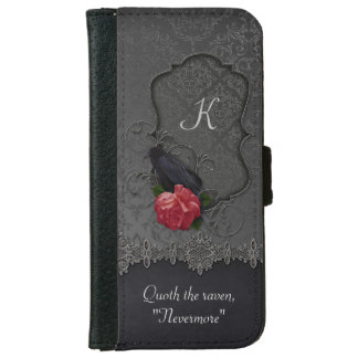 Vintage Raven Red Rose Black Damask Monogram iPhone 6 Wallet Case