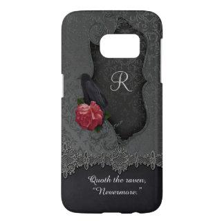 Vintage Raven Red Rose Black Damask Monogram Samsung Galaxy S7 Case