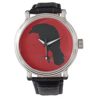 Vintage Raven Silhouette Black Red Ravens Crows Watch