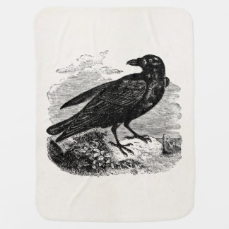 Vintage Raven Silhouette Retro Goth Ravens Birds Swaddle Blankets