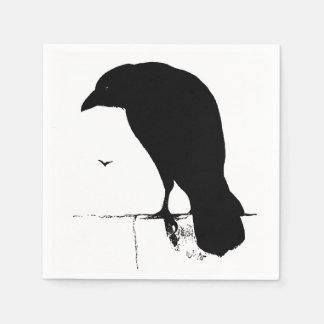 Vintage Raven Silhouette Retro Goth Ravens Crow Paper Napkin