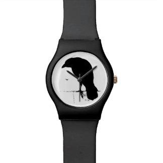 Vintage Raven Silhouette Retro Goth Ravens Crow Watch