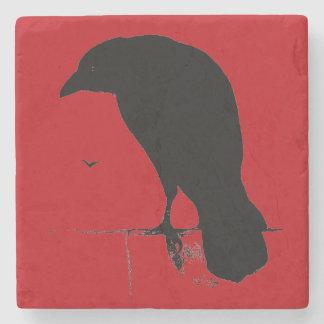 Vintage Raven Silhouette Retro Goth Red Ravens Stone Coaster