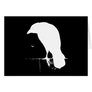 Vintage Raven Silhouette White on Black - Custom Card