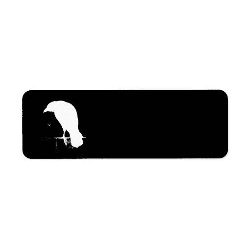 Vintage Raven Silhouette White on Black - Custom Custom Return Address Labels