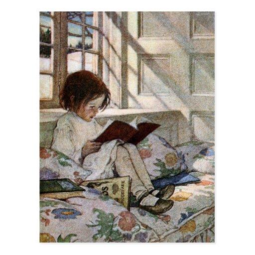Vintage Reading Girl Postcards
