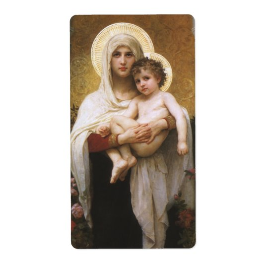 Vintage Realism, Madonna of the Roses, Bouguereau Shipping Label