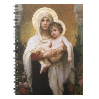 Vintage Realism, Madonna of the Roses, Bouguereau Spiral Notebook
